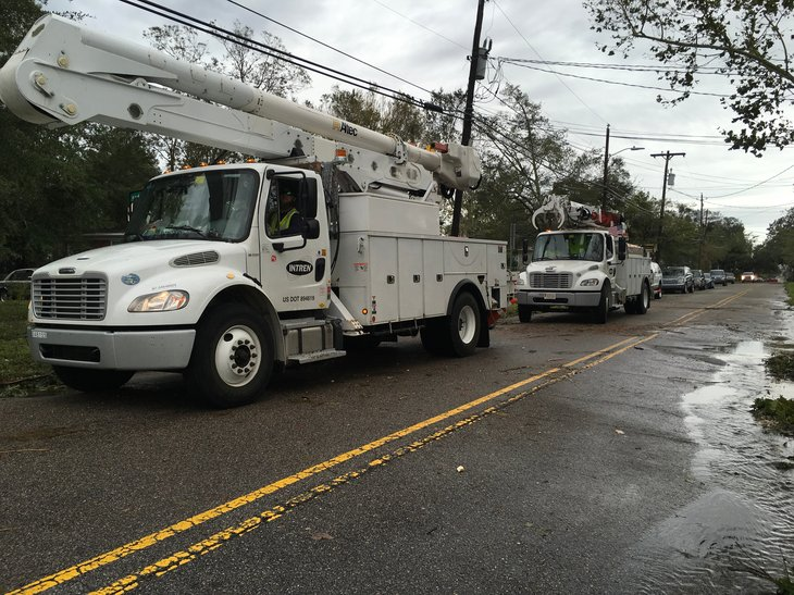 Linemen working in the aftermath of Hurricane Florence