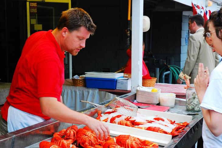 Man selling lobster