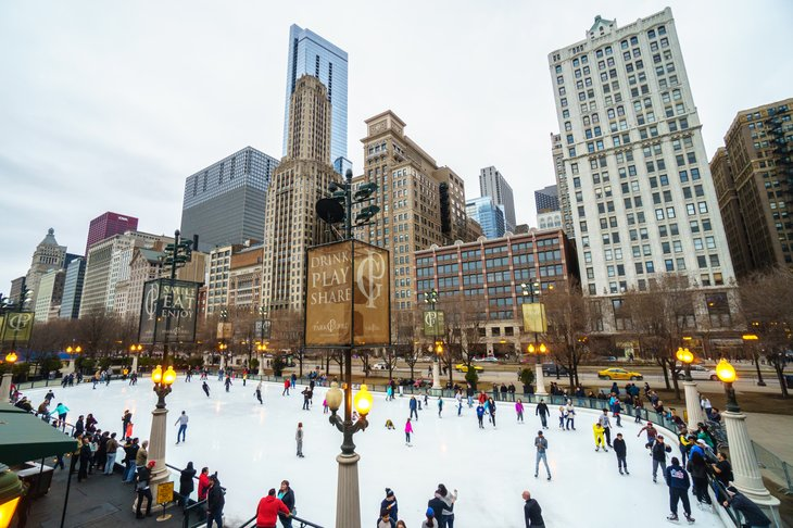 Ice skating in Chicago, Illinois