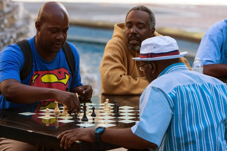 African American men playing chess in Atlanta, Georgia