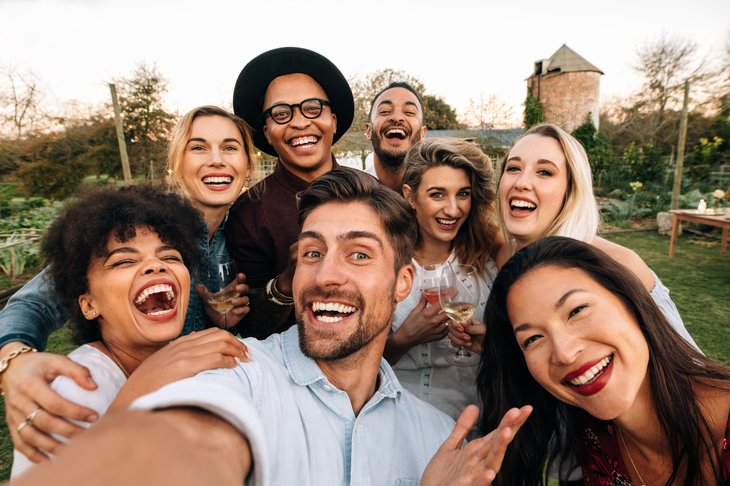 Millennials taking selfie
