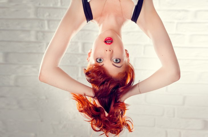 Upside down woman