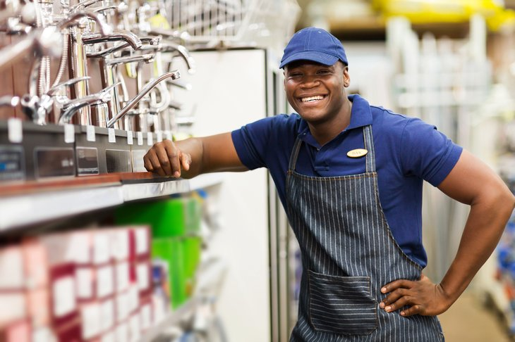 African American worker in a hardware store