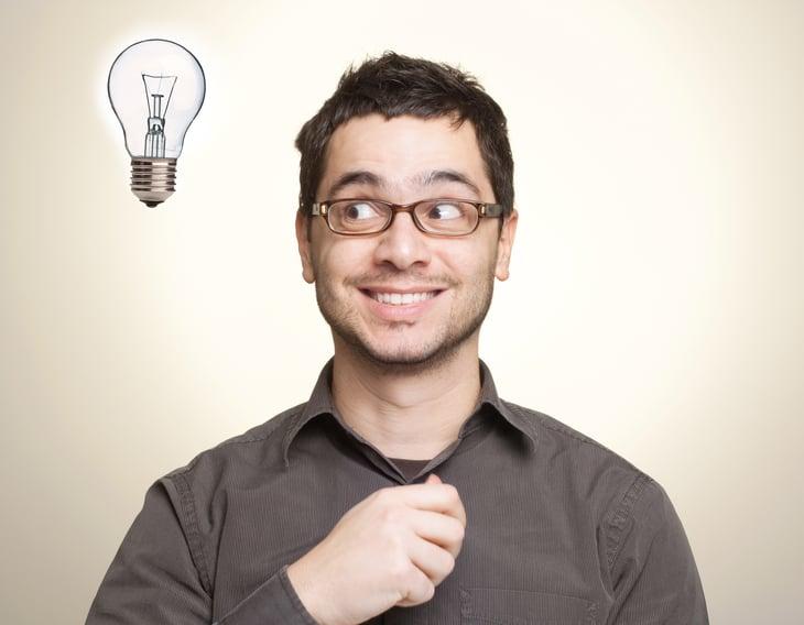 Smart man with light bulb