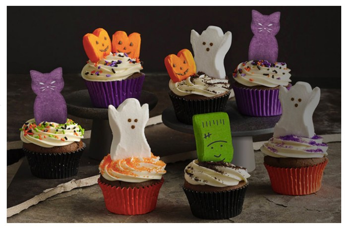 Halloween-themed cupcakes using Peeps