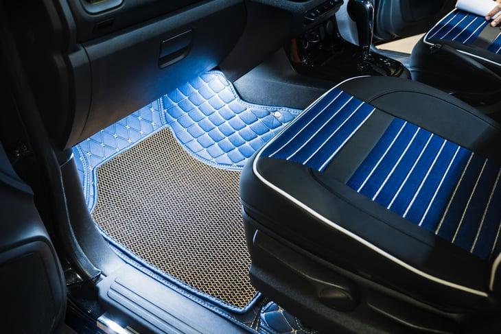 Rubber floor mat in car
