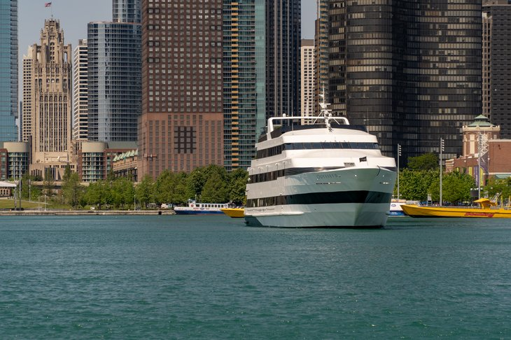Yacht with Chicago skyline