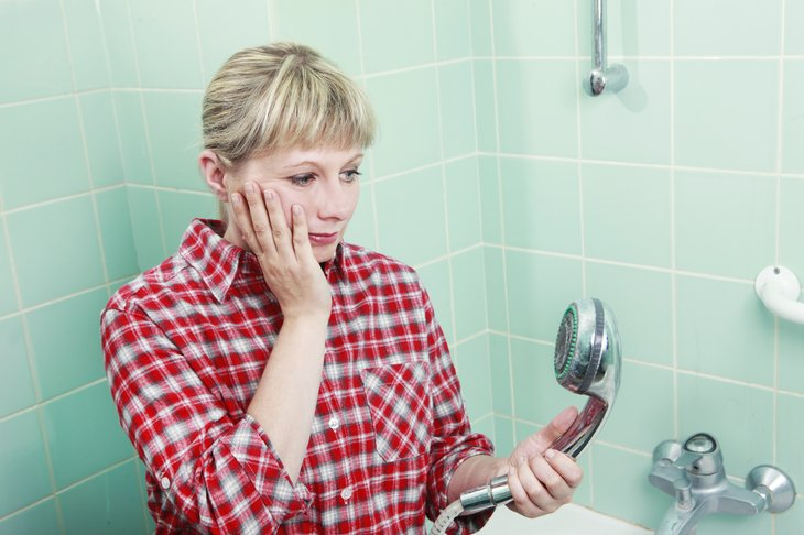 Mujer, limpieza, cabezal de ducha