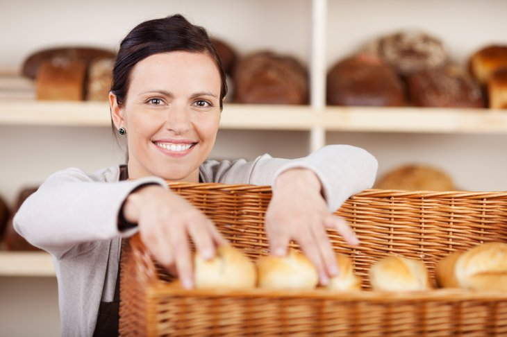 Woman working in a bakery