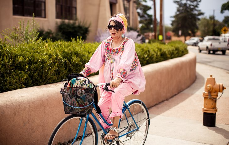Woman on bicycle in Santa Fe, New Mexico