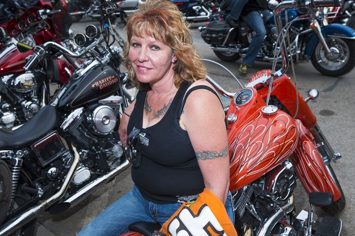 Woman at Sturgis motorcycle rally
