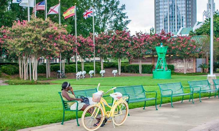 Woman on park bench in Mobile, Alabama