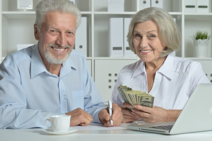 A senior couple enjoys their retirement savings
