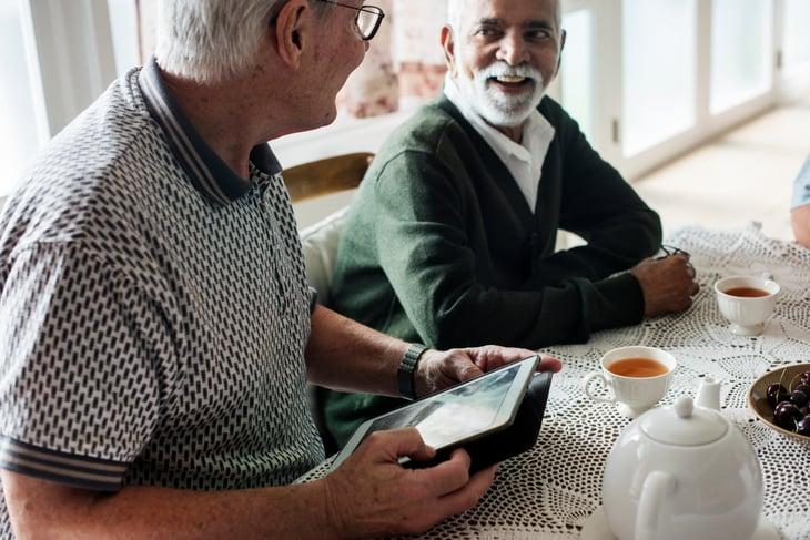 senior elder African American men friends buddies pals