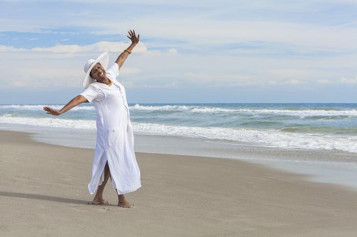 senior African American woman dancing elder