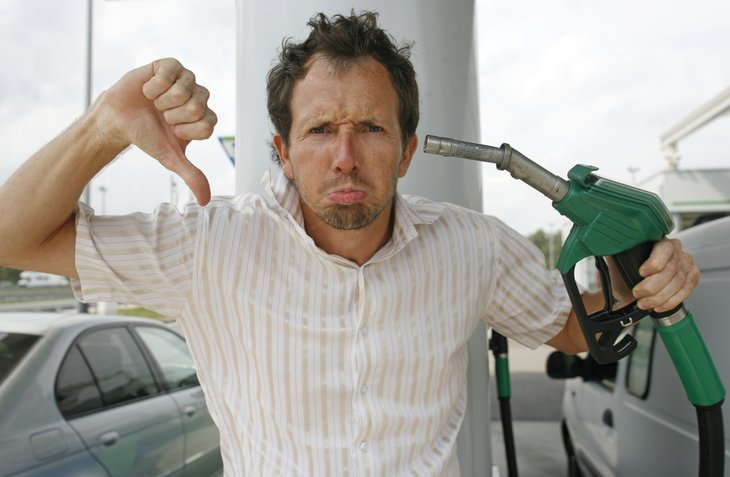 Man at gas pump