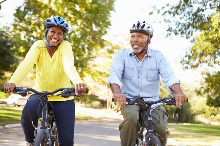 Senior Couple bicycle Cycle african american black elder