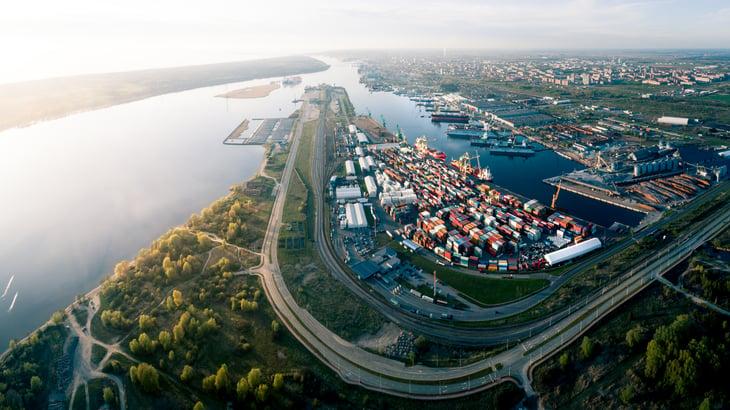 Aerial Panorama of Port of Klaipeda, Lithuania.