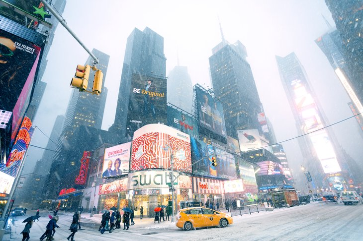Snowy weather in Manhattan Times Square