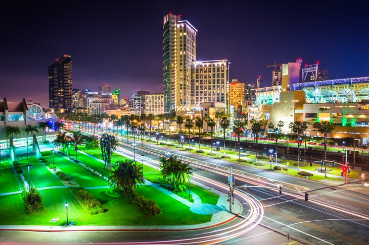 San Diego, California at night