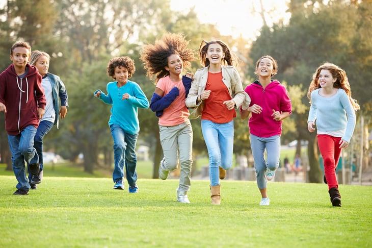 Children Running Park diverse