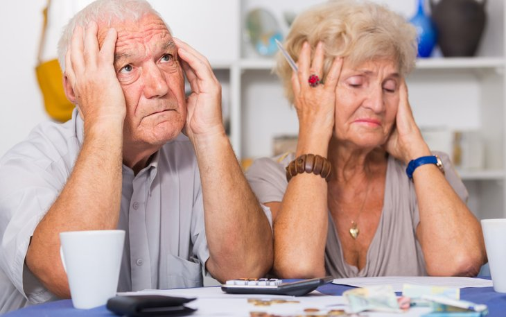 A senior couple stressed about Social Security