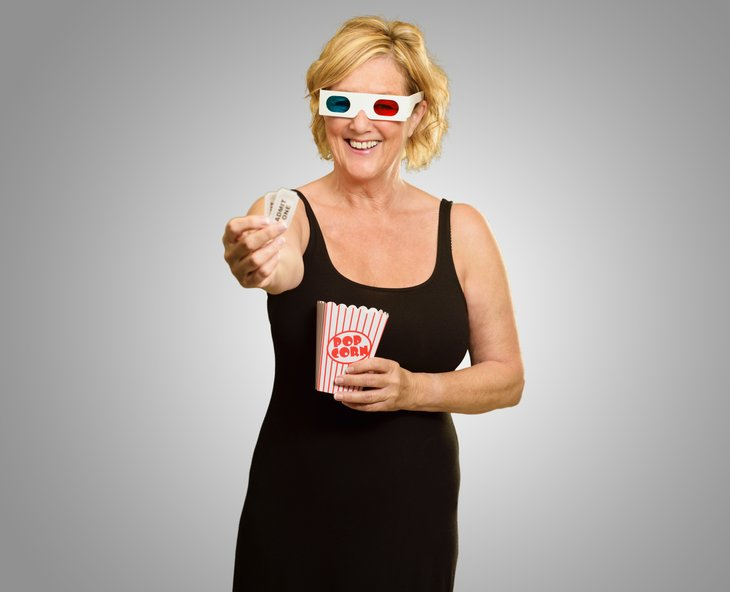 Woman wearing 3-D glasses
