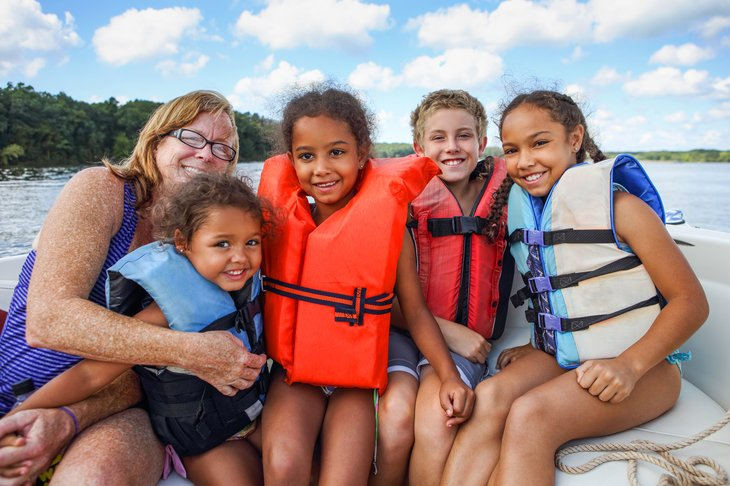 Family Life jackets boat lake