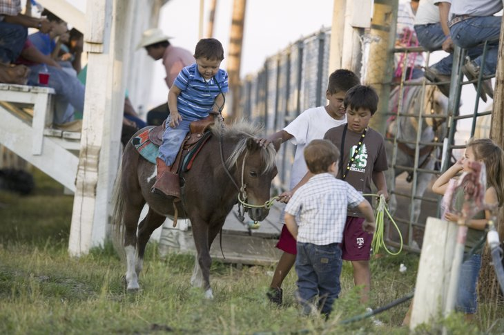 Royalty-free stock photo ID: 265392458 Little cowboys riding pony at PRCA Rodeo at Lower Brule, Lyman County, Lower Brule Sioux Tribal Reservation, South Dakota, 58 miles Southeast of Pierre near Missouri River