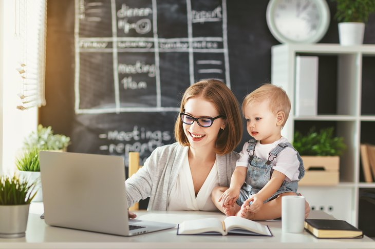 Mother and child, home office