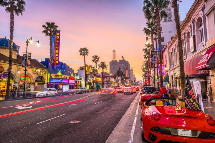 Traffic on Hollywood Boulevard