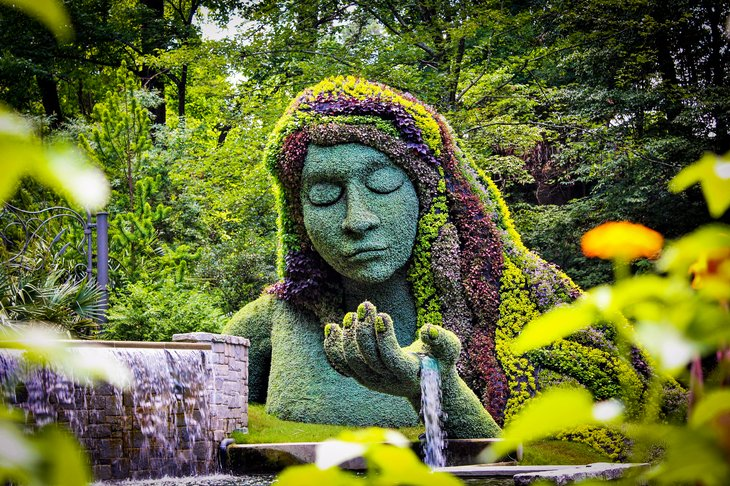Earth goddess plant sculpture in the Atlanta Botanical gardens