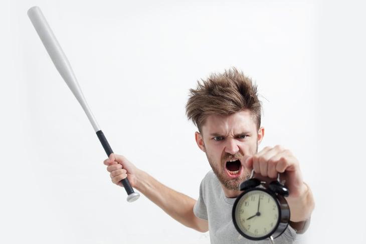 Angry man with baseball bat