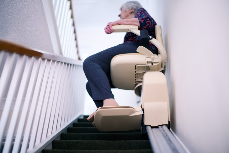 Elder Senior Woman Stair Lift Home Mobility