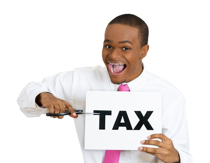 Man cutting taxes