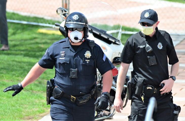 Police officers in masks in Denver, Colorado