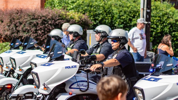 Police officers on motorcycles in Prattville, Alabama