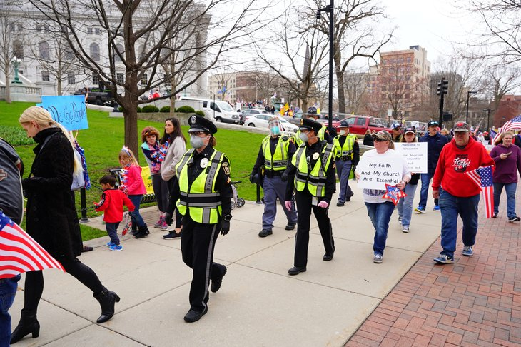 police and protestors in Madison, Wisconsin