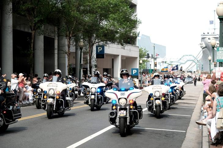 Norfolk, Virginia, sheriff's deputies on motorcycles
