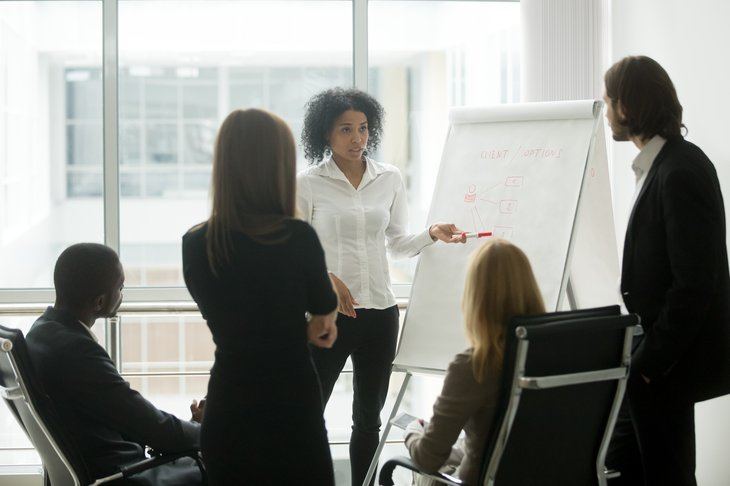 african american female plan team group discuss business