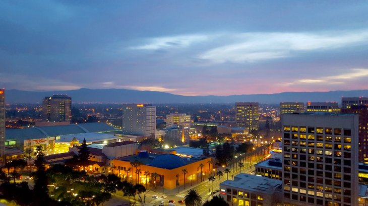 The San Jose skyline, which has a lower median rent than the average mortgage payment