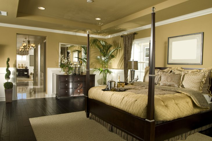 Luxury upscale bedroom bathroom