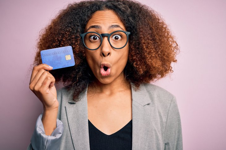Woman worried about credit card