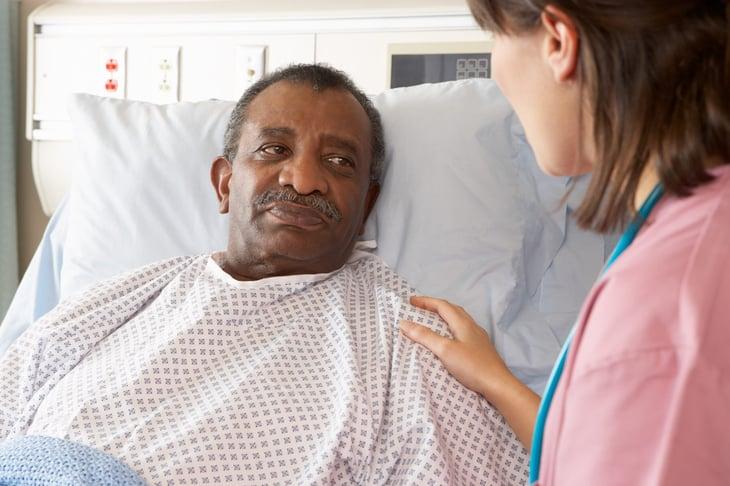 Senior man in the hospital