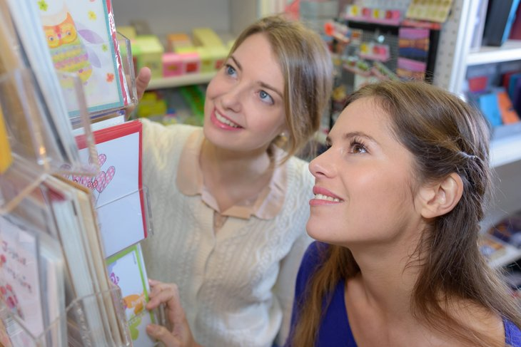 Women looking at greeting cards