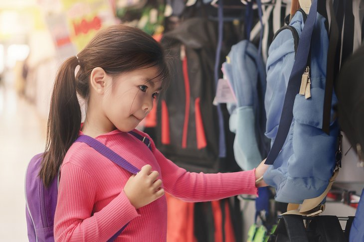 Back to school asian girl child kid shopping buying school satchel backpack store