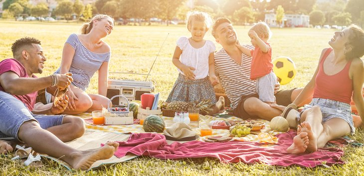 Young parents family picnic friends park grass children summer eating, drinking laughing Love and childhood