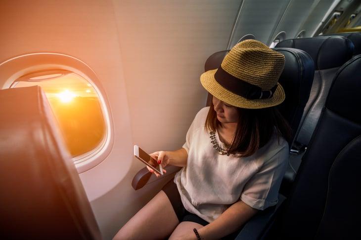 Passenger on airplane