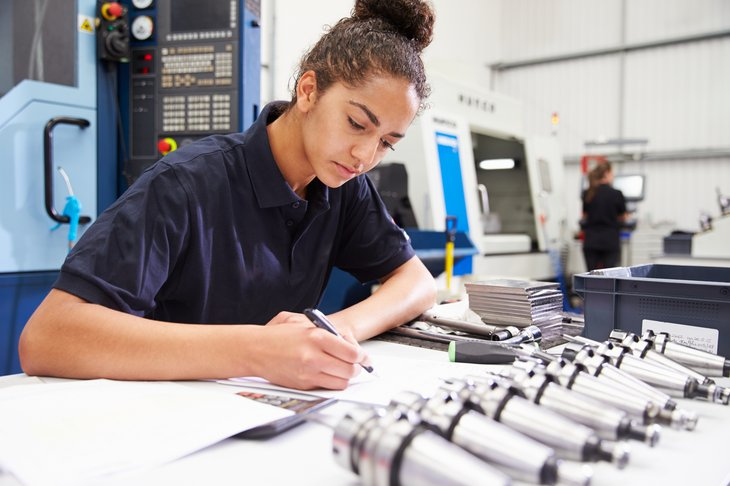 woman female Engineer Planning Project CNC Machinery Background