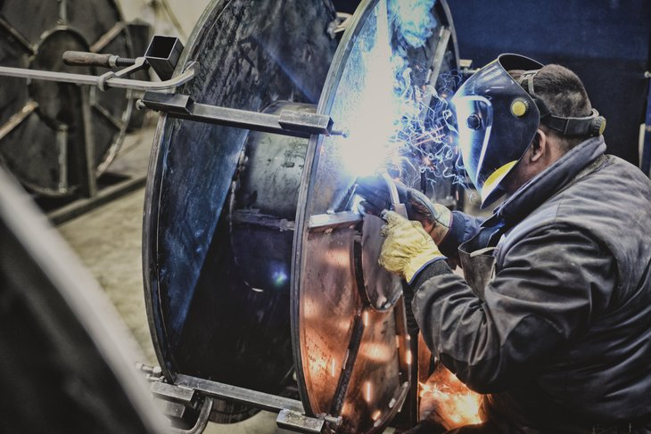 factory welder steel bars.